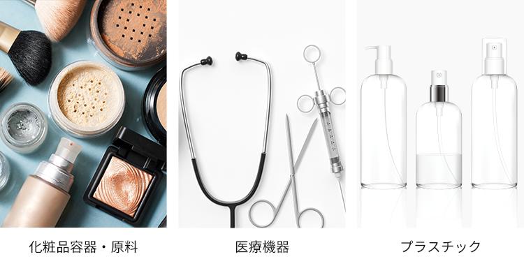 滅菌できるもの:化粧品容器・原料、医療機器、プラスチックのイメージ図